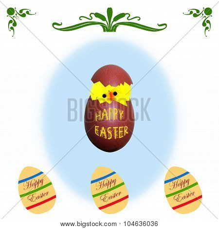 Easter Card With Chick Emerging From Egg