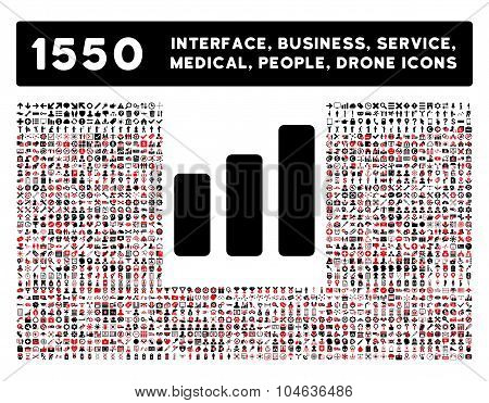Bar Chart Increase Icon and More Interface, Business, Tools, People, Medical, Awards Flat Vector Ico
