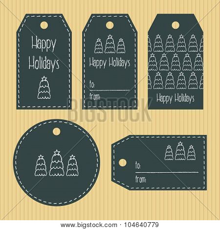 Christmas Gift Tags From Chalky Texture. Ready To Use. Christmas Greeting. Kraft Background. Vector