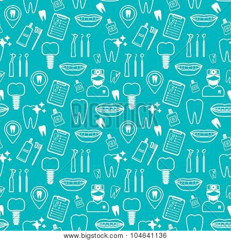 Dental Seamless Pattern. White Linear Icons. Blue Backdrop Flat Design. Vector