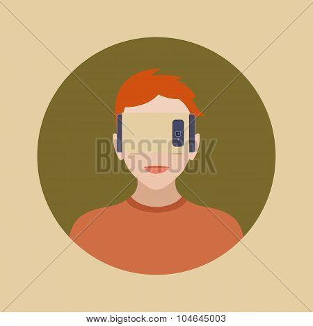 Man in the cartboard virtual reality headset