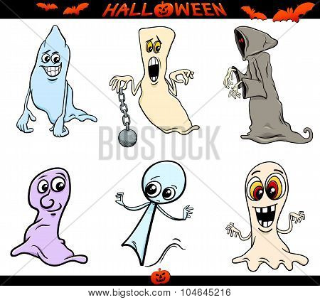 Halloween Ghosts Cartoon Set