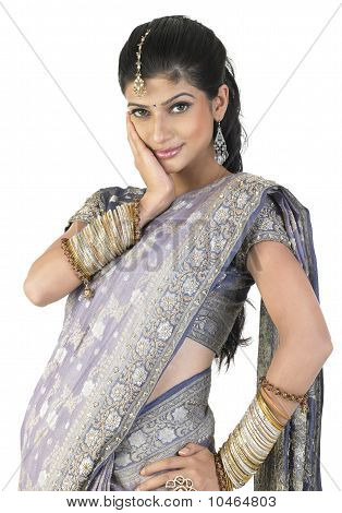 Woman in sari with beautiful bangles
