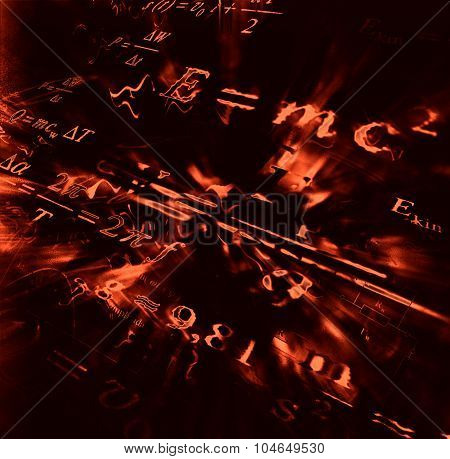 Image of physical technology abstract background. Science wallpaper with school physics formulas and structures. poster