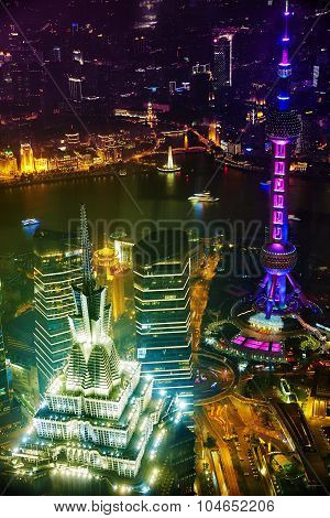 Shanghai, China -may 24, 2015. Oriental Pearl Tower At The Nighttime. Tower  470 Meter The Oriental
