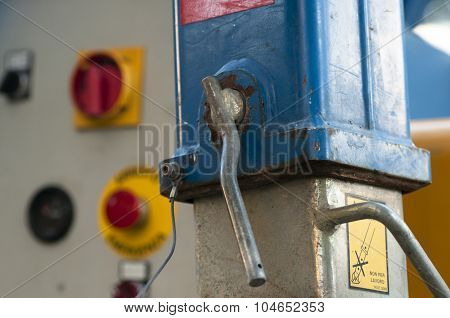 Detail Of A Locking Lever And The Background Emergency Controls And Stopping Of An Elevator