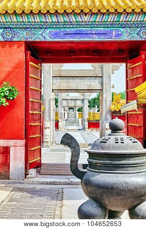 Temple Of Earth (also Referred To As The Ditan Park), Beijing.focus On The Gates.
