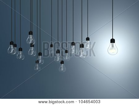 Lightbulbs  And One Lighting Bulb On Blue Background, Idea Concept