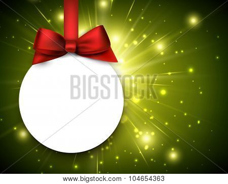 Christmas background with ball. Vector paper Illustration.