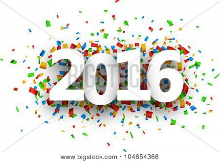 2016 New Year sign with confetti. Vector paper illustration.