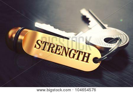 Strength written on Golden Keyring.