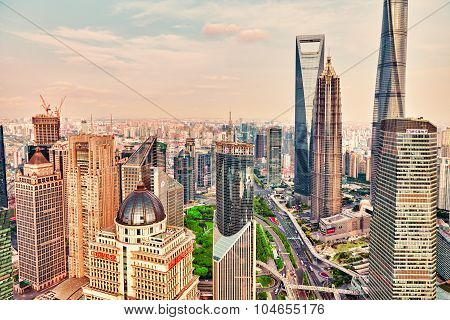 Shanghai, China- May, 24, 2015: Beautiful Skyscrapers, City Building Of Pudong, Shanghai, China.