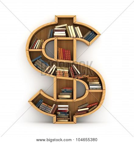 Concept Of Money. Wooden Bookshelf Full Of Book In Form Of Dollar Sign. The Literature About Money.
