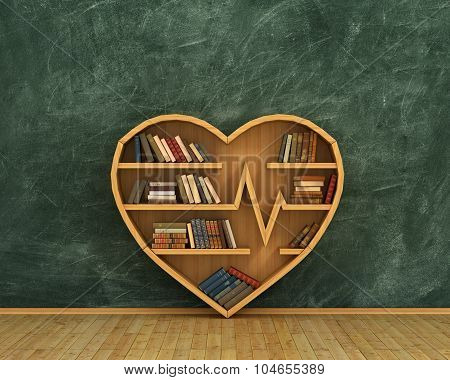 Concept Of Training. Wooden Bookshelf Full Of Book In Form Of Heart On The Blackboard Background. S