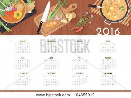 Vegetarian Recipes Calendar 2016