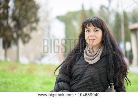 Tourist Girl In Piazza Bocca Della Verità (english: Square Of The Mouth Of Truth)
