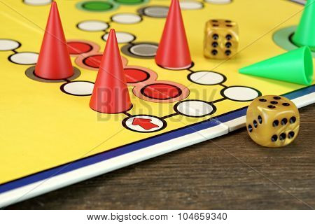 Ludo Or  Parchis Game Board With Playing Figures And Two Dices