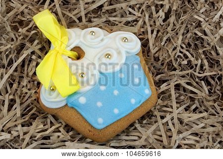 Nestled Glazed Handmade Gingerbread With Sweet Decoration Closeup Ghristmas Gift Concept poster