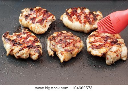 Roast Chicken Meat On The Grill Pan With Nonstick Coating