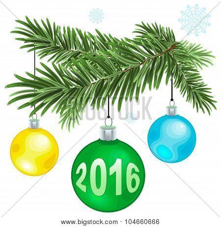 Christmas fur-tree branch with Christmas balls