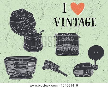 I love Vintage. Vintage musical and photo equipment on grungy background.
