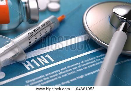 H1N1. Medical Concept on Blue Background.