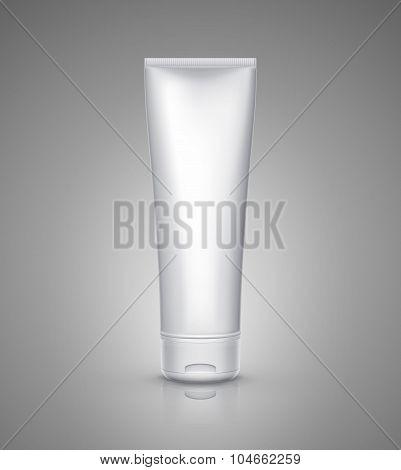 White tube mock-up for cream, tooth paste, gel, sauce, paint, glue. Vector illustration EPS 10 poster