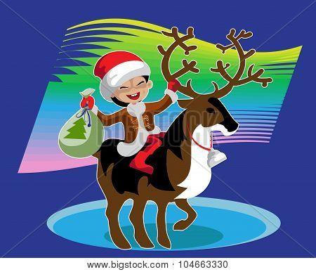 Boy  Astride A Reindeer