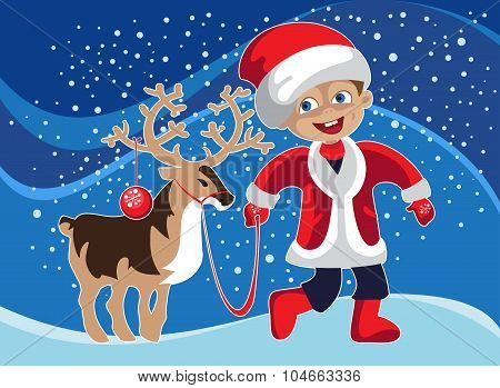 Little Boy In Christmas Costume With A Deer