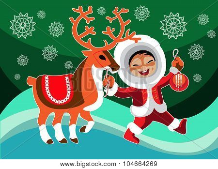 Eskimo Girl And Reindeer
