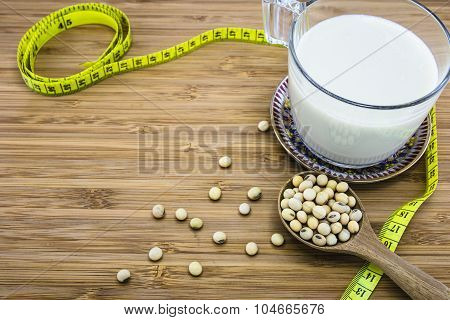 Concept Of Soymilk For Diet And Weight Control