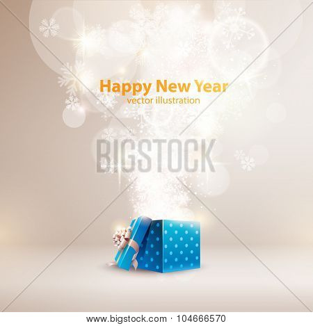 Christmas background with open gift box.