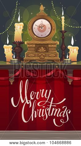 Vintage mantel clock on a shelf. Christmas greeting card \ background \ poster. Vector illustration.