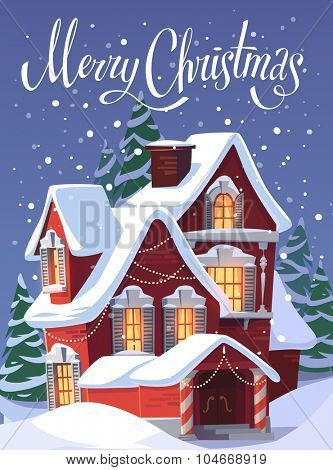 House in snowfall. Christmas greeting card \ background \ poster. Vector illustration.