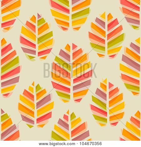 Autumn leaves watercolor style seamless pattern