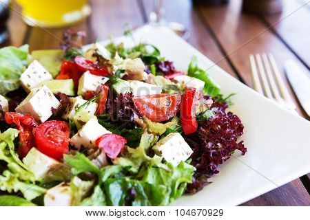 Greek Mediterranean Salad With Feta Cheese, Olives And Peppers