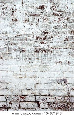 Old Red Brick Wall With Whitewash Backround Texture