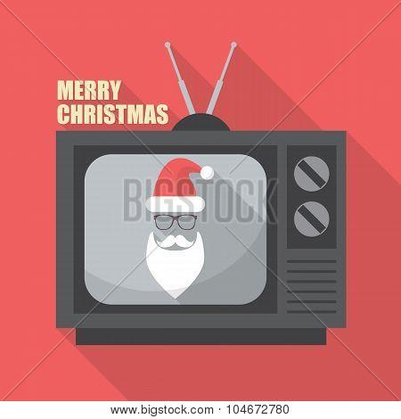 Mustache And Glasses Of Santa In Retro Television
