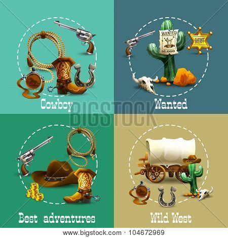 Wild West Adventures Icons Set