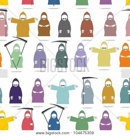 Funny Death In Bright Robes Seamless Pattern. Texture Of Many  Grim Reaper . Endless Background For
