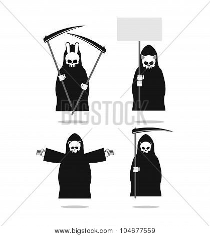Set Of Animal Deaths: Rabbit And Cat. Bear And  Pig. Bestial  Grim Reaper. Icons For Halloween.