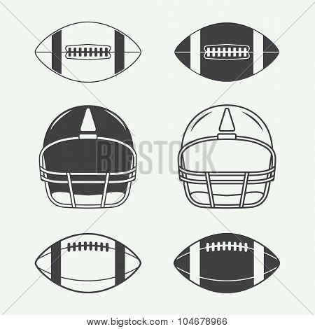 Set Of Vintage Rugby And American Football Labels, Emblems, Logo And Design Elements