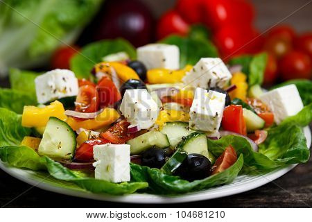 Fresh Vegetable Greek Salad With Feta Cheese, Black Olives, Olives Oil, Cherry Tomatoes, Yellow Pepp