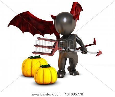 3D Render of Morph Man Daemon with pumpkins