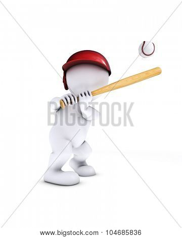 3d render of morph man playing baseball
