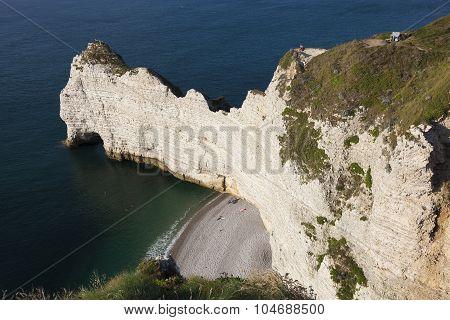 Cliff In Etretat, Cote D'albatre, Pays De Caux, Seine-maritime Department, Upper Normandy Region, Fr