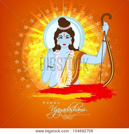 Lord Rama giving blessings on beautiful floral design decorated background for Indian festival, Happy Vijayadashami celebration.