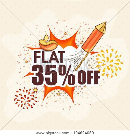 Creative poster, banner or flyer design of Sale with flat 35% off for Indian Festival of Lights, Happy Diwali.