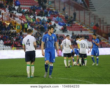 Vicenza, Italy - October 13, 2015: Uefa Under-21 Championship Qualifying Round, Football Match Italy
