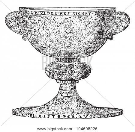 Chalice late twelfth century, silver gilt and decorated with niello figures, vintage engraved illustration. Industrial encyclopedia E.-O. Lami - 1875.